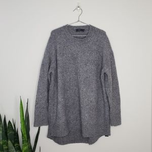 Zara Knit Grey Wool Blend Long Oversized Sweater